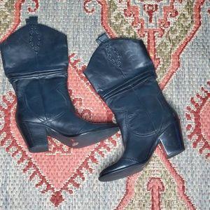BCBGeneration Black Leather Cowboy Boots size 10